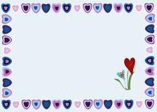 Kader van harten op een blauwe achtergrond Royalty-vrije Stock Fotografie