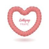 Kader van het lolly het rode hart Royalty-vrije Stock Afbeeldingen