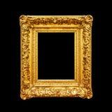 Kader van het luxe het overladen die portret op zwarte wordt geïsoleerd Stock Foto's