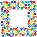 Kader van kleurrijke handdrukken Royalty-vrije Stock Afbeeldingen