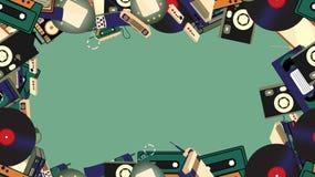 Kader van oude retro hipsterelektronika, mobiele telefoons, TV, bandrecorder, speler, audiocassettes, video, spelconsole, camera vector illustratie