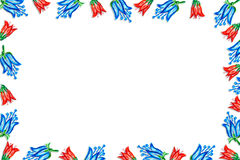 Kader van rode blauwe klokken wordt gemaakt die Royalty-vrije Stock Foto