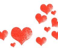 Kader van rode harten op de Dag van Valentine ` s Lege ruimte voor uw tekst Witte achtergrond Elegante vectorillustratie Stock Afbeeldingen