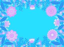 Kader van roze bloemen en blauwe bladeren op turkooise achtergrond stock illustratie