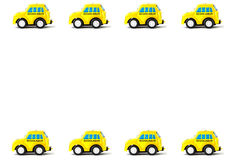 Kader van Schoolbus-Stuk speelgoed auto Stock Afbeelding