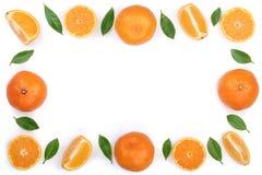 Kader van sinaasappel of mandarijn met bladeren op witte achtergrond met exemplaarruimte worden geïsoleerd voor uw tekst die Vlak Stock Afbeelding