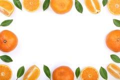 Kader van sinaasappel of mandarijn met bladeren op witte achtergrond met exemplaarruimte worden geïsoleerd voor uw tekst die Vlak Stock Foto