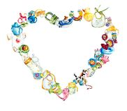 Kader van speelgoed en voorwerpen van zorg Babyreeks Waterverfhand geschilderde illustratie royalty-vrije illustratie