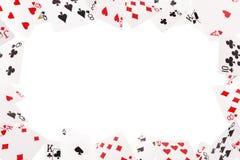 Kader van speelkaarten op een witte achtergrond Royalty-vrije Stock Afbeeldingen