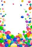 Kader van vele luchtballons op witte achtergrond royalty-vrije stock afbeelding