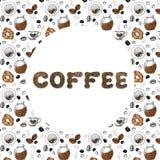 Kader voor het concept koffieontwerp met het beeld van koffie, koppen, broodjes, blikken en brieven Schets, grafiek voor ontwerpd royalty-vrije illustratie