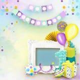 Kader voor Verjaardagsfoto's in plakboekstijl royalty-vrije stock fotografie