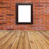 Kaderfoto op rode bakstenen muur en houten perspectief stock illustratie