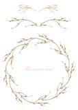 Kadergrens, decoratieve bloemendieelementen en kroon van de takken met knoppen in een waterverf op een witte achtergrond, gree wo Stock Foto's