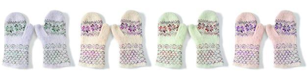Kadergrens die van vuisthandschoenen van verschillende kleuren wordt gemaakt Royalty-vrije Stock Fotografie