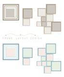 Kaderobjecten het lay-outontwerp voor verfraait in bruin en blauw kleurenthema Stock Foto