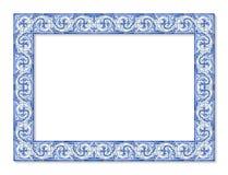 Kaderontwerp met typische Portugese decoratie met gekleurde geroepen keramische tegels stock afbeeldingen