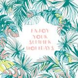 Kaderpatroon van inkthand getrokken Tropische palmbladen Royalty-vrije Stock Fotografie