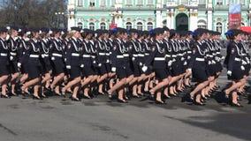 Kadetten der Akademie des Innenministeriums an der Wiederholung der Parade stock footage