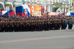 Kadetten van de Militaire School van Suvorov bij de repetitie van Victory Day Parade op Paleisvierkant Stock Afbeeldingen
