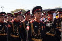 Kadettendeelnemers van Russische Legerparade Victory Day - Mei 9, vastgesteld aan 71ste verjaardag van de Overwinning Royalty-vrije Stock Afbeeldingen