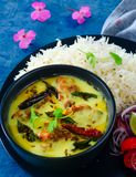 Kadhi sem glúten e arroz do ki do dahi da refeição do Punjabi indiano foto de stock