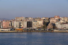 Kadikoy dock, Istanbul. Istanbul, Turkey - March 30, 2016: View from Kadikoy commercial dock located at the Kadikoy coast, Asian side of Istanbul, Turkey on Stock Photos
