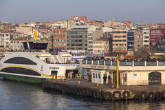 Kadikoy dock, Istanbul. Istanbul, Turkey - March 30, 2016: View from Kadikoy commercial dock located at the Kadikoy coast, Asian side of Istanbul, Turkey on Royalty Free Stock Photography