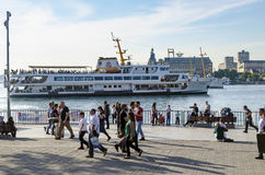 Kadikoy pier and the pier moving Royalty Free Stock Photography