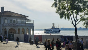 Kadikoy pier and the pier moving Kadikoy-Besiktas Ferry. Stock Photography