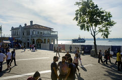 Kadikoy pier and the pier moving Kadikoy-Besiktas Ferry. Royalty Free Stock Photos
