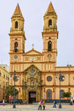Kadiz in Spain. Cathedral church square. Royalty Free Stock Photos