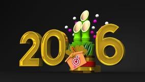 Kadomatsu And 2016 On Black Background stock illustration
