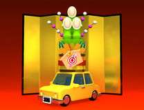 Kadomatsu On Car Stock Photography