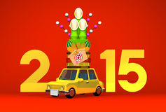 Kadomatsu On Car, New Year Ornament, 2015 On Red. 3D render illustration For The Year Of The Sheep,2015 Stock Photos