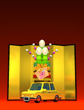 Kadomatsu On Car With Text Space. 3D render illustration For The Year Of The Sheep,2015. On Red Royalty Free Illustration