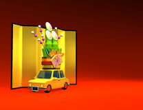 Kadomatsu On Car With Text Space. 