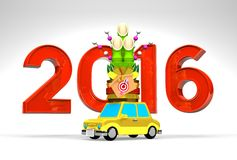 2016 And Kadomatsu On Car With White Background. 3D render illustration For New Year 2016 Royalty Free Illustration