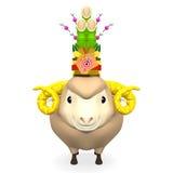 Kadomatsu Na uśmiechu Sheep głowie Zdjęcia Royalty Free