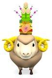 Kadomatsu Na uśmiechu Sheep głowie Dla pocztówki Zdjęcia Royalty Free