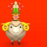 Kadomatsu Na uśmiechu Sheep głowie Na Czerwonej tekst przestrzeni Obrazy Stock