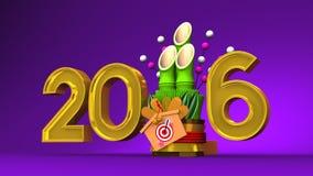 Kadomatsu And 2016 On Purple Background stock illustration