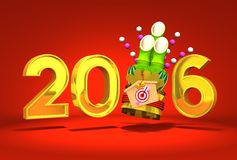 Kadomatsu And 2016 On Red Background. 3D render illustration For New Year 2016 Stock Image