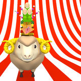 Kadomatsu On Smile Sheep's Head On Stripe Stock Photography
