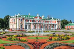 Kadriorg Palace and flower garden in Tallinn, Estonia. Kadriorg Palace and flower garden with fountain in Tallinn, Estonia. Kadriorg Palace is a Petrine Baroque Royalty Free Stock Photos