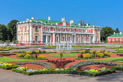 Kadriorg Palace and flower garden in Tallinn, Estonia. Kadriorg Palace and flower garden with fountain in Tallinn, Estonia. Kadriorg Palace is a Petrine Baroque Royalty Free Stock Images