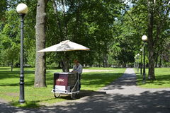 Kadriorg park Catherine's Valley in Tallinn, An ice cream seller is waiting for the clients. Stock Image