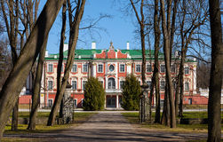 Kadriorg park with trees and palace facade Royalty Free Stock Photography