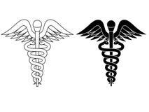 Kaduceusz apteki symbolu czerni biel odizolowywający ilustracja wektor