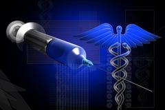 kaduceusz strzykawka medyczna szyldowa Zdjęcie Stock
